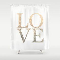 GATSBY GOLD LOVE Shower Curtain by Monika Strigel - $68.00
