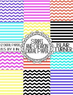 Stripes and Chevron Digital Background Paper - FREEBIE!