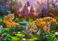 Tigers At The Ancient Stream Photograph  - Tigers At The Ancient Stream Fine Art Print