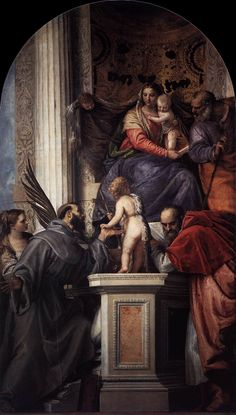 Paolo Veronese (1528-1588) - Enthroned Madonna and Child, with the Infant St John the Baptist and Saints between 1562-1564. location currently, Accademia of Venice.