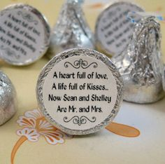 Mr. and Mrs. Kisses Stickers Personalized Wedding Hershey Labels Favors