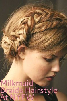 Perfect for summer, the milkmaid braids seen at the Rebecca Minkoff S/S 2014 show at New York Fashion Week this weekend are a fun look for anyone with long hair. Inspired by Mexican artist Frida Kahlo, pair this hairstyle with boho dresses or printed summer tops and denim shorts. #MexicanHairstylesForWomen