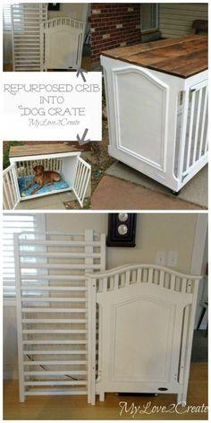 Repurpose a crib into a dog crate                                                                                                                                                     More