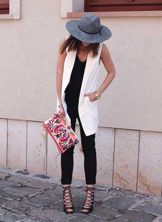 Fashion is my cure - black jumpsuit + long white vest