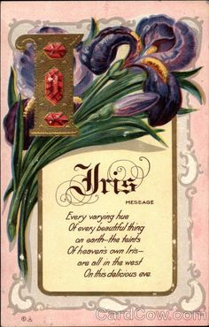 Iris message Motto Series 6 Every varying hue Of every beautiful thing on earth - the feints Of heaven's own Iris- are all in the west On this delicious eve