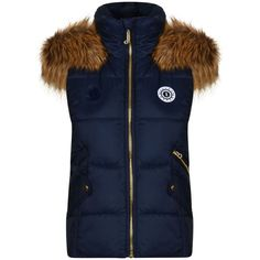 Juicy Couture Regal Puffer Gilet ($195) ❤ liked on Polyvore featuring outerwear, vests, blue puffy vest, puff vest, fur trimmed vest, fur trimmed puffer vest and juicy couture vest