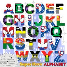 SUPERHERO ALPHABET LETTERS   Superhero Digital Letters