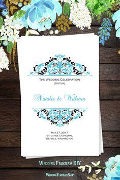 Malibu Blue & Black, DIY Wedding Program, Printable Templates You Edit & Print, Kaitlyn Design Series.