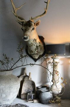 I hope the deer is not for Country House Interior, Living Styles, Love Home, Cool Rooms, Living Room Inspiration, Rustic Charm, Rustic Interiors, Country Chic, Rustic Furniture