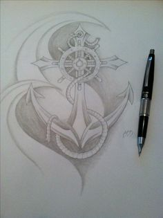 Another anchor tattoo idea - Chris Allen Future Tattoos, New Tattoos, Body Art Tattoos, Tattoo Drawings, Tatoos, Anchor Drawings, Anchor Tattoos, Beautiful Tattoos, Awesome Tattoos