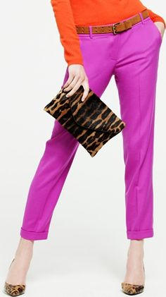 fuschia pants...leopard bag no orange for me but the pants are cute, how about red
