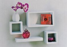 Set of 4 Floating Wall Storage Display Book Cubes Shelves Stand Shelf (White)