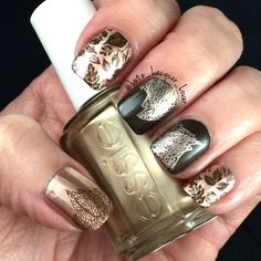 It's Monday so leaf me alone. Just kidding! I'm so excited about this mani! I used #Essie #PennyTalk and #ChinaGlaze IX. Stamped with the leaders images from my new #UberChic 05-02 plate! Topped off with #HKGirl #GlistenandGlow ❤️.   #diynails #nailart #polishaddict  #naturalnails #fallnailart #fallnails