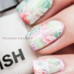 Water color nail art stamping spring flowers manicure