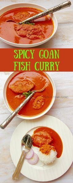 Recipe for Spicy Goan Fish Curry with Kashmiri Chilli, Tamarind in a coconut based gravy. Goan Recipes, Veg Recipes, Curry Recipes, Vegetarian Recipes, Cooking Recipes, Cooking Tips, Seafood Recipes, Recipies, Healthy Recipes