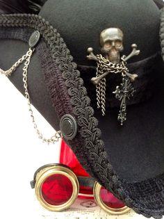 Gunmetal Cpt Stokoe steampunk cockade Tricorn hat