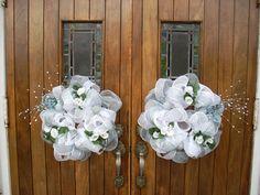 GORGEOUS Church Door White Mesh Wedding Wreath by DottiesWeddings, $50.00