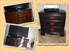 Brian & I re-did his furniture...sanded everything and then spray painted it all. : ) We're so happy with it!