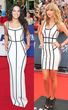 Michelle Rodriguez and Taylor Swift in Hervé Léger at varying lengths.