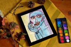 """BLUE RASPBERRY Watercolor and drawing Print x 11 """" Claudia Chartier © * frames are not provided Vintage, Cover, Frame, Etsy, Decor, Watercolor Painting, Water Colors, Figurative, Handmade Gifts"""