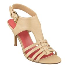 """Our Guadalupe open-toe, t-strap sandals can go from work to wherever your feet take you! Adjustable buckle closure. Contrast sock lining. Leather upper. Man-made lining and sole. Imported. 3 1/4""""heels. T-strap sandals."""