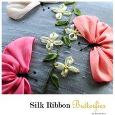 Schmetterlinge Kissen decken Seide Kissenbezug Silk Ribbon