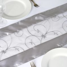 14 x Wholesale Silver Satin Embroidered Sheer Organza Table Runner Banquet Tables, Reception Table, Party Tables, Dessert Tables, Wedding Reception, Wedding Ideas, Silver Wedding Decorations, Table Decorations, Centerpiece Ideas