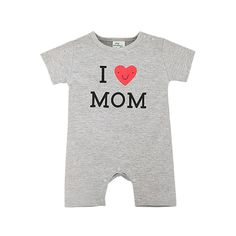 Baby's I Love Mom Cotton One Piece in Grey (Unisex), 43% discount @ PatPat Mom Baby Shopping App