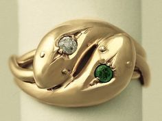 0.05ct Emerald 0.05ct Diamond, 18ct Yellow Gold Snake Ring - Antique - Size S1/2