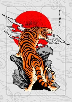 Tiger Japan Style Tattoo Background - - Discover thousands of Premium vectors available in AI and EPS formats. Art Tigre, Japanese Tiger Tattoo, Japanese Tiger Art, Japanese Dragon, Japanese Tattoos, Tattoo Background, Vector Background, Art Background, Japon Illustration