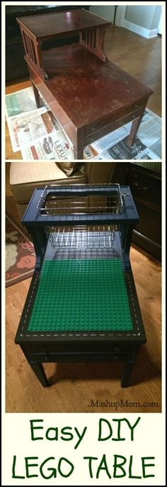 Easy DIY LEGO Table! Try this fun customizable DIY LEGO table project and upcycle your next thrift store find. Also works for DUPLO! http://www.mashupmom.com/frugal-homemade-diy-lego-table/