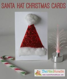 santa hats christmas cards - the perfect 5 minute christmas craft for kids
