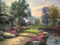 Painter of light: Mr Kinkade's talent, shown here in Living Waters: Golfer's Paradise, Hole One is a characteristic of his serene style that put roughly one of his paintings in every 20 homes
