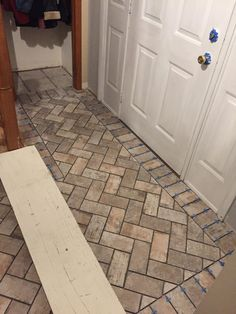 DIY home project - installing a foyer accent floor using Chicago South Side Porcelain Brick Tile. It looks like an old farmhouse brick but in a tile format! Porch Tile, Brick Tiles, Old Farm Houses, Foyer Decorating, Porcelain Tile, Grout, Home Projects, Homesteading, Building A House