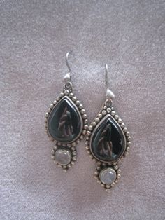 Vintage Sterling Silver Earrings With Black Onyx by BALIARTWORKS, $35.00