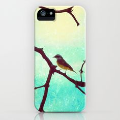 The Bird (Textured blue sky and little bird in a branch tree) iPhone Case by Andreka Photography - $35.00