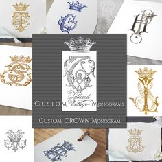 Custom Crown Monogram Cipher - a custom creation from my personal collection of hand drawn letters in antique books digitized and fit together  Heres how to order:  1) browse the monogram download section to find a style or styles you like www.etsy.com/shop/tatteredvintage?section_id=18942965   2) choose the number of initials in drop-down menu   • Two initials intertwined with crown  • Three initials intertwined with crown  3) at checkout include any design preferences in a no...