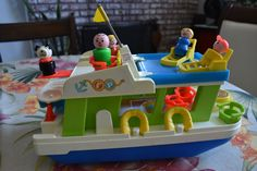 Vintage Fisher Price Little People HAPPY HOUSEBOAT Boat Set #985 COMPLETE! #FisherPrice