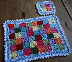 Tiny Granny square place mat and coaster by Julia Crossland