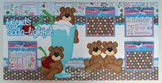 2 Premade Scrapbook Pages 12x12 Layout Paper Piecing Friends Bears Girl Handmade Elite4U