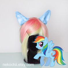 Rainbowdash cosplay costume pony ears  My little pony by nekochii, $22.00
