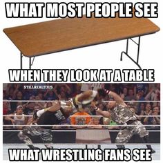 Get the tables! - wwe & wwf News Wwe Funny, Funny Jokes, Wwe Facts, Wwe Quotes, Wrestling Quotes, Wwe Raw And Smackdown, Dhoni Quotes, Wwe Roman Reigns, Wwe World