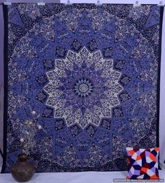 Indian Purple Star Cotton Twin Double King Queen 210cm x 240cm Bed Sheet Cover Wall Hanging Throw Tapestry Festival Boho Art UK by NamaskarIndia on Etsy https://www.etsy.com/listing/246916814/indian-purple-star-cotton-twin-double