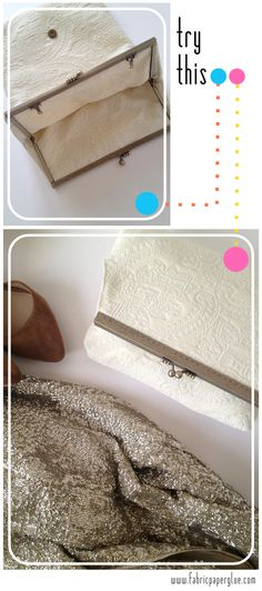 Tutorial for my wedding day clutch. Courtesy of my favorite craft blog, Fabric Paper Glue | DIY Fold-Over Framed Clutch Tutorial