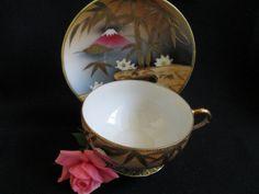 Vintage Tea Cup and Saucer, Nippon Japan, Handpainted Asian Motif