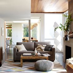 Living Room: White Color Ideas Applied Inside Contemporary House Interior For Living Room Space Dessign Plan On Clear Flooring Unit Idea from Fascinating Pouf and Floor Pillows in Various Designs