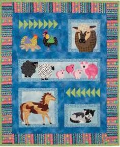 "Naptime Animals Kid's Quilt by Garden Trellis Designs at KayeWood.com.This special kid's applique quilt pattern features many animals from down on the farm.  There are chickens, a cow, sheep, pigs, a horse, a cat on a quilt with a finished size of 38"" x 45"".  Also included in is a pattern for a pillow that features a barn and a tractor with a finished size of 12"" x 16"". http://www.kayewood.com/Naptime-Animals-Kids-Quilt-and-Pillow-Pattern-by-Garden-Trellis-GTD-NAAN.htm $8.00"