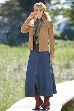476828ccaa Long Denim Shirtdress | Chadwicks of Boston Tavaszi Divat, Női Divat,  Lányok, Nő