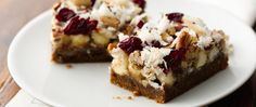 The flavor of gingerbread comes through in this easy-to-assemble holiday bar using a cookie mix crust layered with vanilla chips, nuts, cranberries and coconut drizzled with sweetened condensed milk -- a twist on a classic dessert!