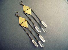 Quartz Crystal Earrings / Gold Brass Geometric by Chrysalism
